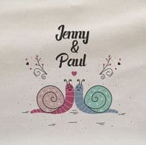 Snails In Love Personalised Vaelntines Printed Fabric Panel