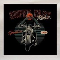 Super Fast Rider Motorbike Motorcycle Printed Fabric