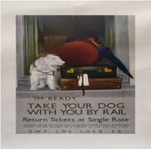Take Your Dog with You On The Rail Printed Fabric Panel