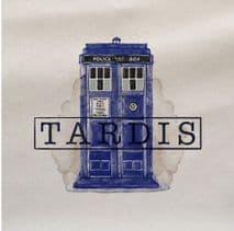 Tardis Police Box Blue Watercolour Doctor Who Fabric Panel