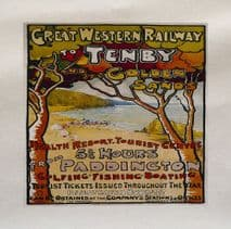Tenby Golden Sands Travel Great Western Rail Train Fabric Panel