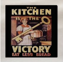 The Kitchen Is Victory Eat Less Bread World War Printed Fabric