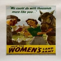The Womans Land Army Join World War Printed Fabric