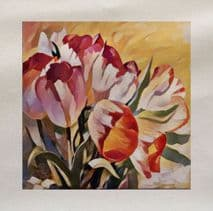 Tulips Flowers Watercolour Painting Printed Fabric Panel