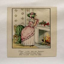 Victorian Christmas Lady Bonet Printed On Fabric