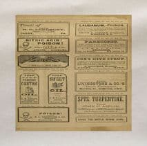 Vintage Apothecary Poison Label Printed Fabric Panel