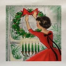 Vintage Christmas Decorating Lady Wreath Printed Fabric Panel