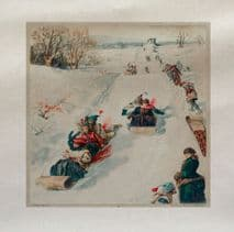 Vintage Christmas Winter Sledging Snow Fabric Panel