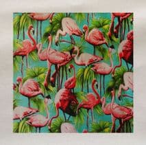Vintage Pink Blue Flamingos Tropical Pattern Fabric Panel