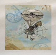 Vintage Steampunk Balloon Flying  Fabric Panel