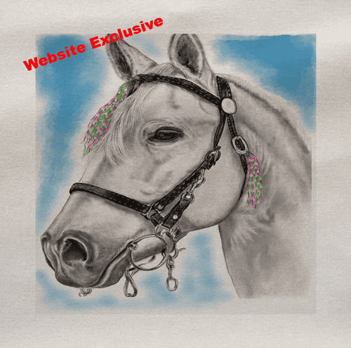 Watercolour White Horse Painting Printed Fabric Panel