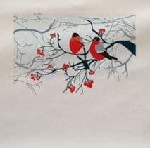 Winter Bird Robins Snow Christmas Printed On Fabric