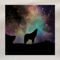 Wolf Starry Sky Howling - Printed Fabric Panel