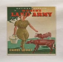 Womans Land Army Enrol Today World War Printed Fabric (1)