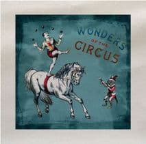 Wonders of the Circus Horse Monkey Fabric Panel