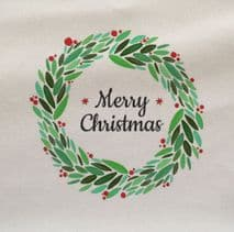 Wreath Merry Christmas Printed On Fabric