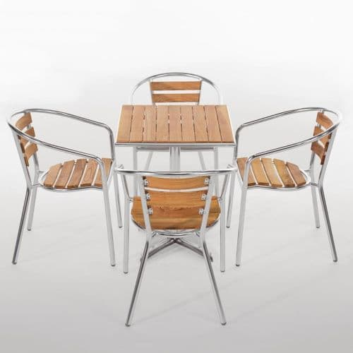 Aluminium & Ash 4 Armchair and Square Table Set