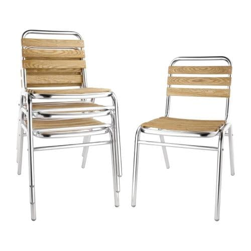 Ash & Aluminium Bistro Side Chair - Pack of 4.
