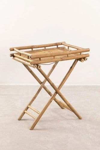 Bamboo Foldable Side Table with Tray