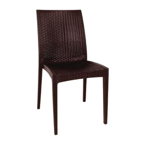 Brown Rattan Bistro Side Chair