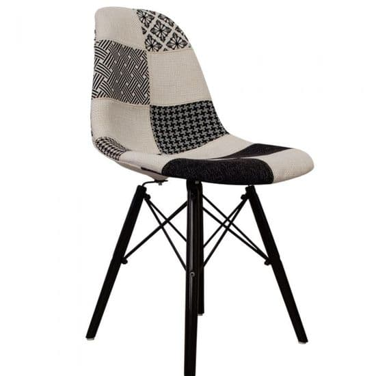 Eames Inspired Fabric DSW Side Chairs with Black Legs