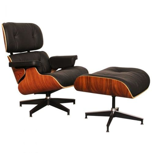 Eames Inspired Lounge Chair & Ottoman - Rosewood & Black Leather