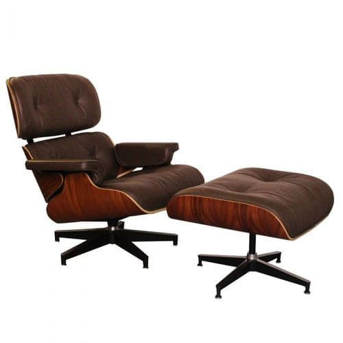 Eames Inspired Lounge Chair & Ottoman - Rosewood & Brown Leather