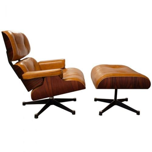 Eames Inspired Lounge Chair & Ottoman - Rosewood & Tan Leather