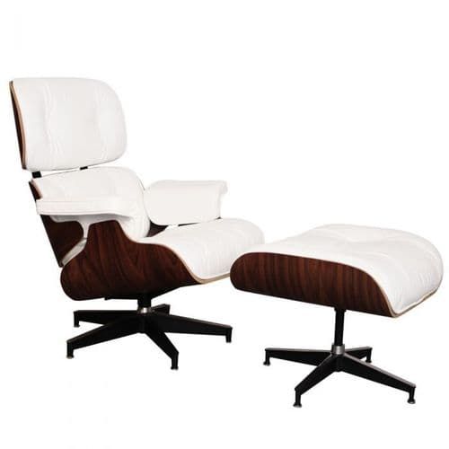 Eames Inspired Lounge Chair & Ottoman - Rosewood & White Leather