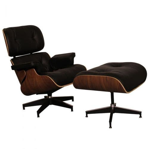 Eames Inspired Lounge Chair & Ottoman - Walnut & Black Leather