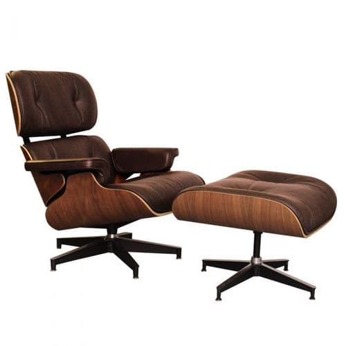 Eames Inspired Lounge Chair & Ottoman - Walnut & Brown Leather