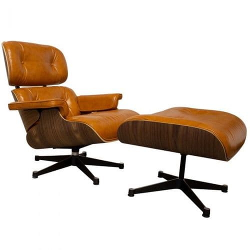 Eames Inspired Lounge Chair & Ottoman - Walnut & Tan Leather