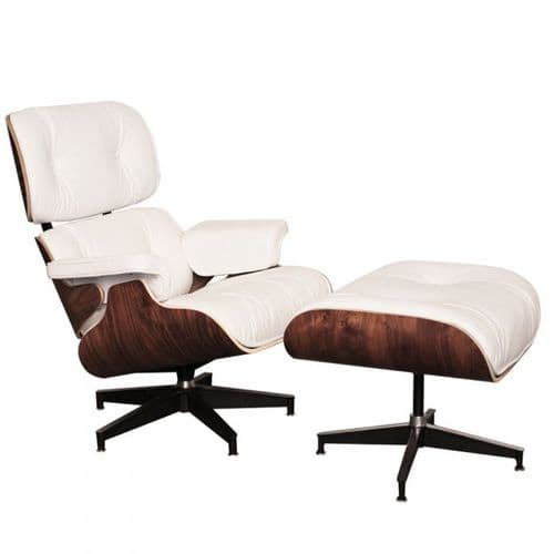 Eames Inspired Lounge Chair & Ottoman - Walnut & White Leather