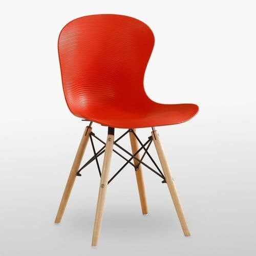 Eames Inspired Ribbed Eiffel Chairs with Natural Legs