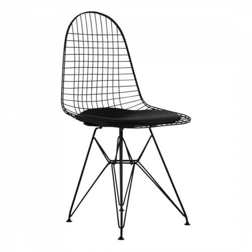 Eames Style DKR Wire Side Chair Black