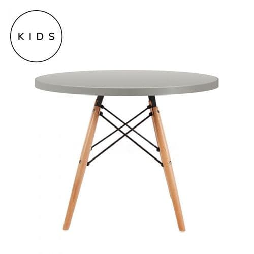 Eames Style Dowel Round Table Natural Leg - Grey