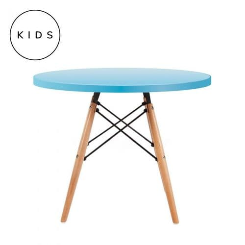 Eames Style Dowel Round Table Natural Leg - Light Blue
