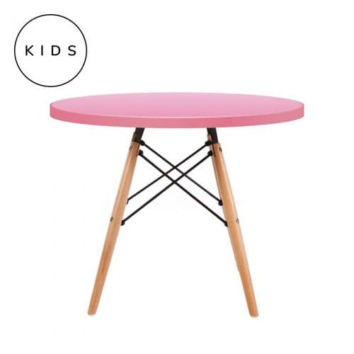 Eames Style Dowel Round Table Natural Leg - Pink