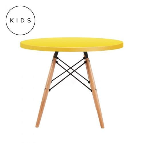 Eames Style Dowel Round Table Natural Leg - Yellow