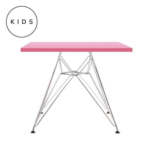 Eames Style Eiffel Square Table - Pink