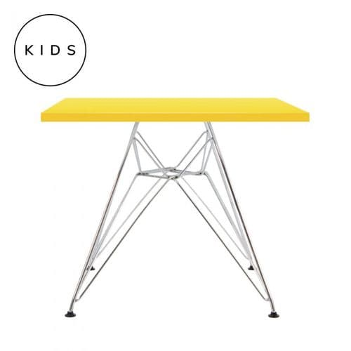 Eames Style Eiffel Square Table - Yellow