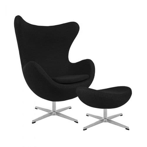 Jacobsen Style Cashmere Egg Chair with Ottoman - Black