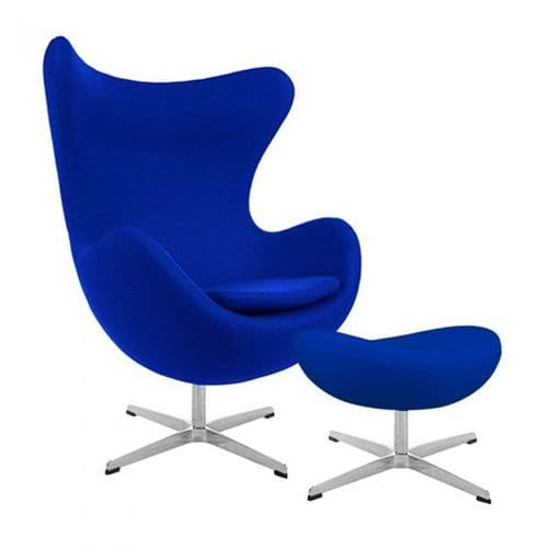 Jacobsen Style Cashmere Egg Chair with Ottoman - Blue