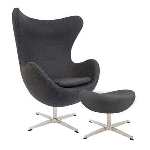 Jacobsen Style Cashmere Egg Chair with Ottoman - Dark Grey