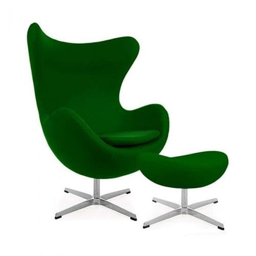 Jacobsen Style Cashmere Egg Chair with Ottoman - Green