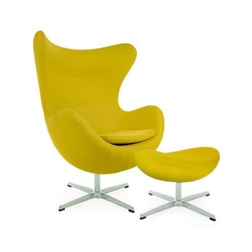 Jacobsen Style Cashmere Egg Chair with Ottoman - Mustard
