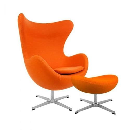 Jacobsen Style Cashmere Egg Chair with Ottoman - Orange