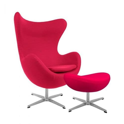 Jacobsen Style Cashmere Egg Chair with Ottoman - Pink