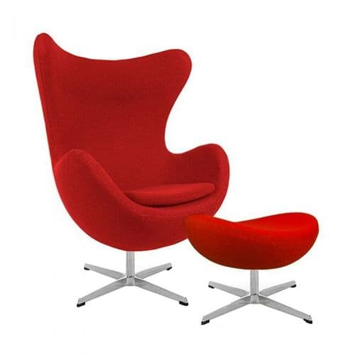 Jacobsen Style Cashmere Egg Chair with Ottoman - Red