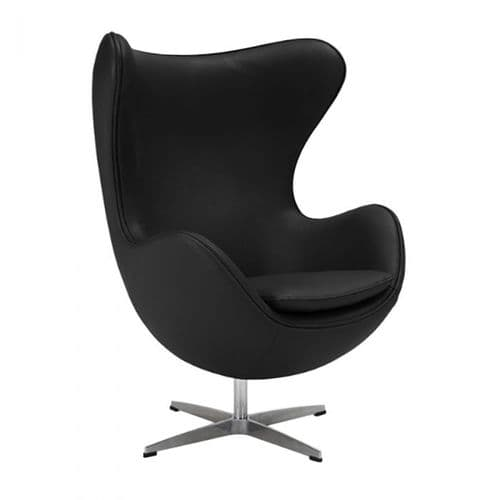 Jacobsen Style Egg Chair - Leather - Black